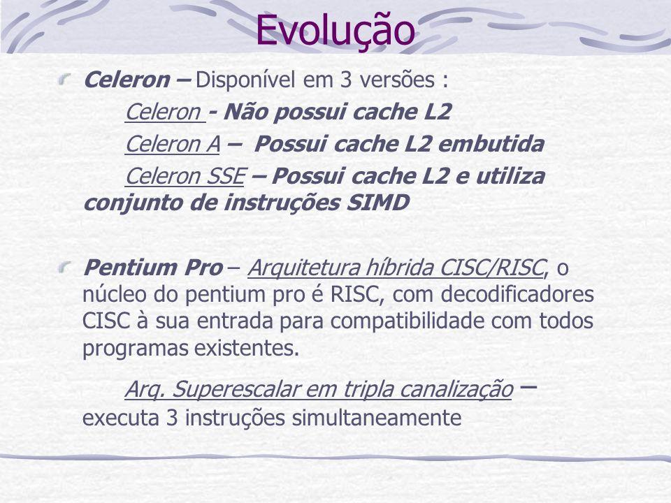 Evolução Celeron – Disponível em 3 versões : Celeron - Não possui cache L2 Celeron A – Possui cache L2 embutida Celeron SSE – Possui cache L2 e utiliz