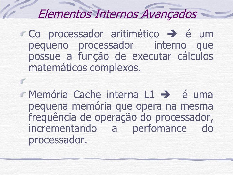 Elementos Internos Avançados Co processador aritimético é um pequeno processador interno que possue a função de executar cálculos matemáticos complexo