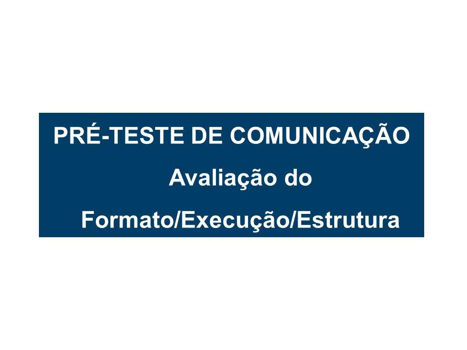 6 PRÉ-TESTE DE COMUNICAÇÃO Avaliação do Formato/Execução/Estrutura