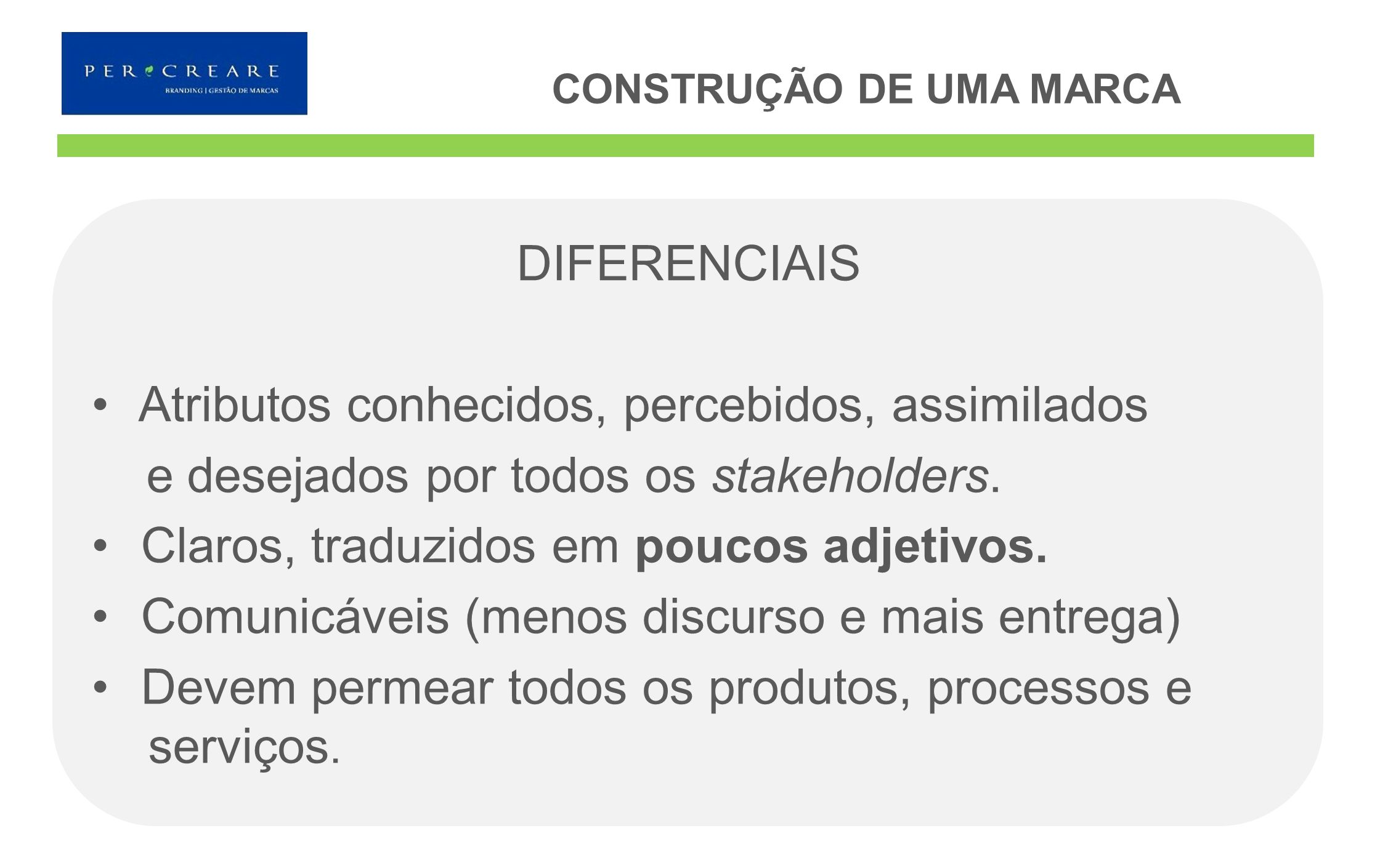 DIFERENCIAIS Atributos conhecidos, percebidos, assimilados e desejados por todos os stakeholders. Claros, traduzidos em poucos adjetivos. Comunicáveis