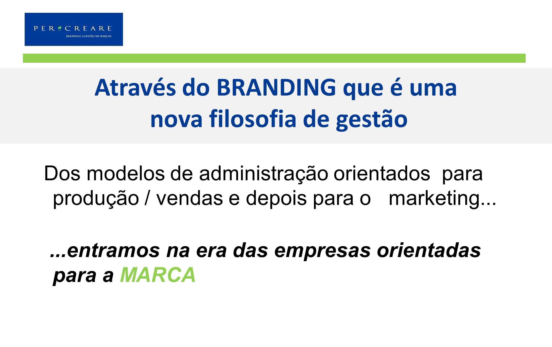 Através do BRANDING que é uma nova filosofia de gestão Dos modelos de administração orientados para produção / vendas e depois para o marketing......e