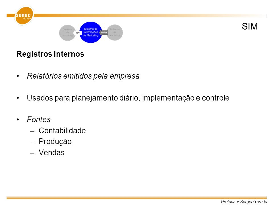 Professor Sergio Garrido Registros Internos Relatórios emitidos pela empresa Usados para planejamento diário, implementação e controle Fontes –Contabi