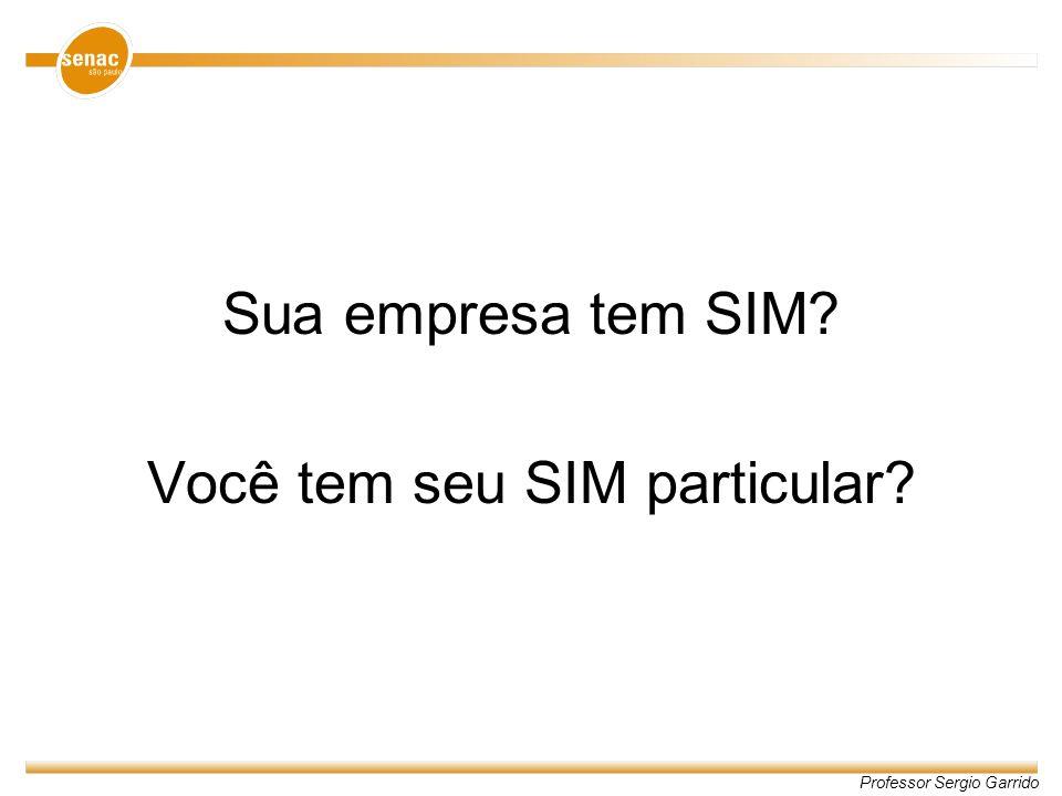 Professor Sergio Garrido Sua empresa tem SIM? Você tem seu SIM particular?
