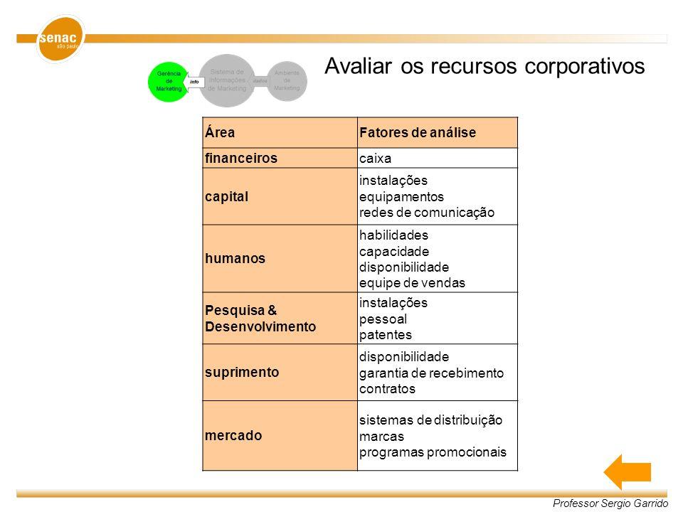 Professor Sergio Garrido Avaliar os recursos corporativos ÁreaFatores de análise financeiroscaixa capital instalações equipamentos redes de comunicaçã
