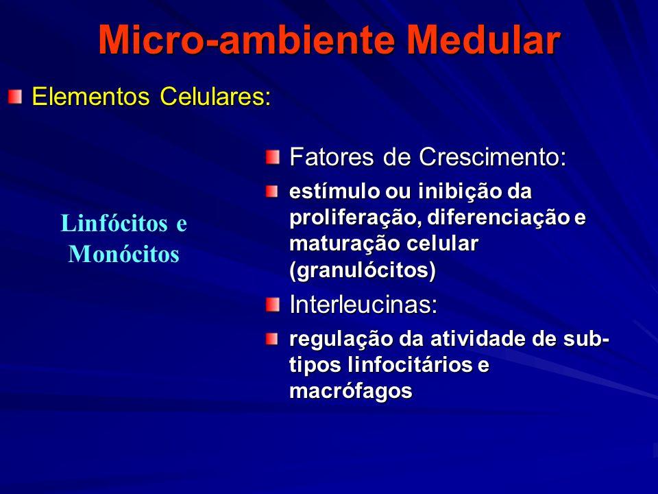 Micro-ambiente Medular Elementos Celulares: Fatores de Crescimento: estímulo ou inibição da proliferação, diferenciação e maturação celular (granulóci