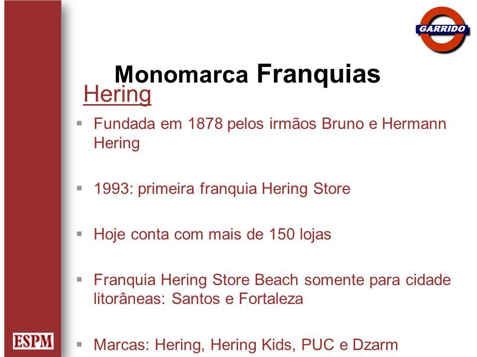 Hering Fundada em 1878 pelos irmãos Bruno e Hermann Hering 1993: primeira franquia Hering Store Hoje conta com mais de 150 lojas Franquia Hering Store