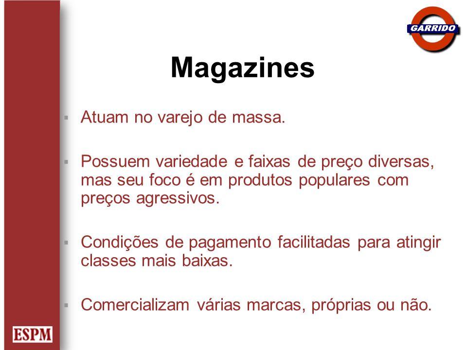Magazines Atuam no varejo de massa. Possuem variedade e faixas de preço diversas, mas seu foco é em produtos populares com preços agressivos. Condiçõe