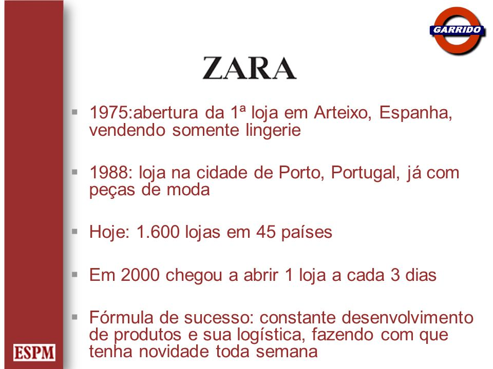 1975:abertura da 1ª loja em Arteixo, Espanha, vendendo somente lingerie 1988: loja na cidade de Porto, Portugal, já com peças de moda Hoje: 1.600 loja
