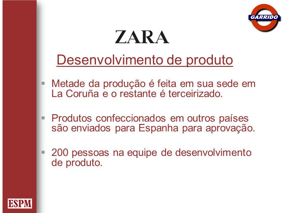 Desenvolvimento de produto Metade da produção é feita em sua sede em La Coruña e o restante é terceirizado. Produtos confeccionados em outros países s