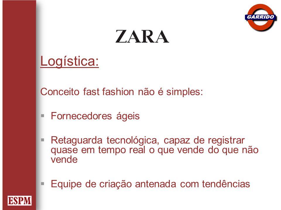 Logística: Conceito fast fashion não é simples: Fornecedores ágeis Retaguarda tecnológica, capaz de registrar quase em tempo real o que vende do que n