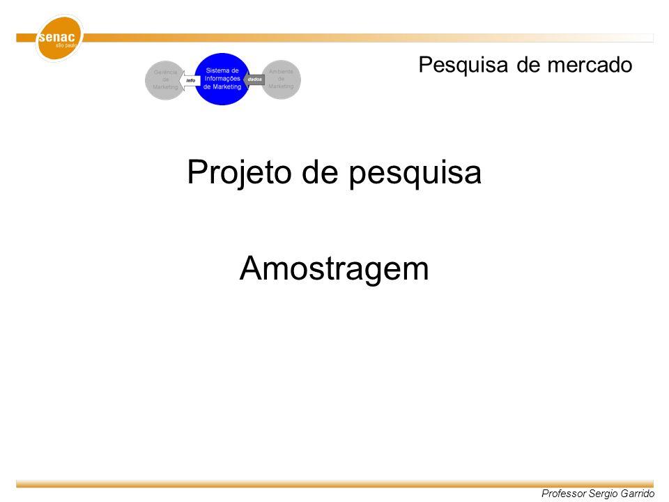 Professor Sergio Garrido AMOSTRAGEM Projeto de pesquisa Problema de pesquisa 1.