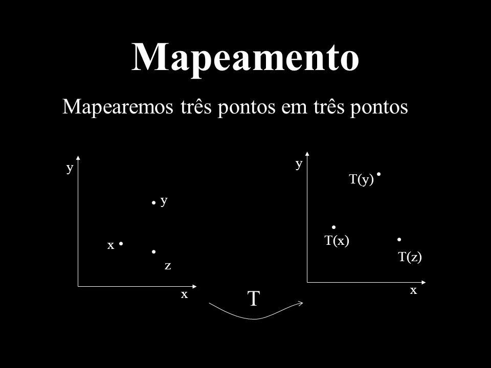 Mapeamento Mapearemos três pontos em três pontos x y z T(z) T(y) T(x) T x x y y