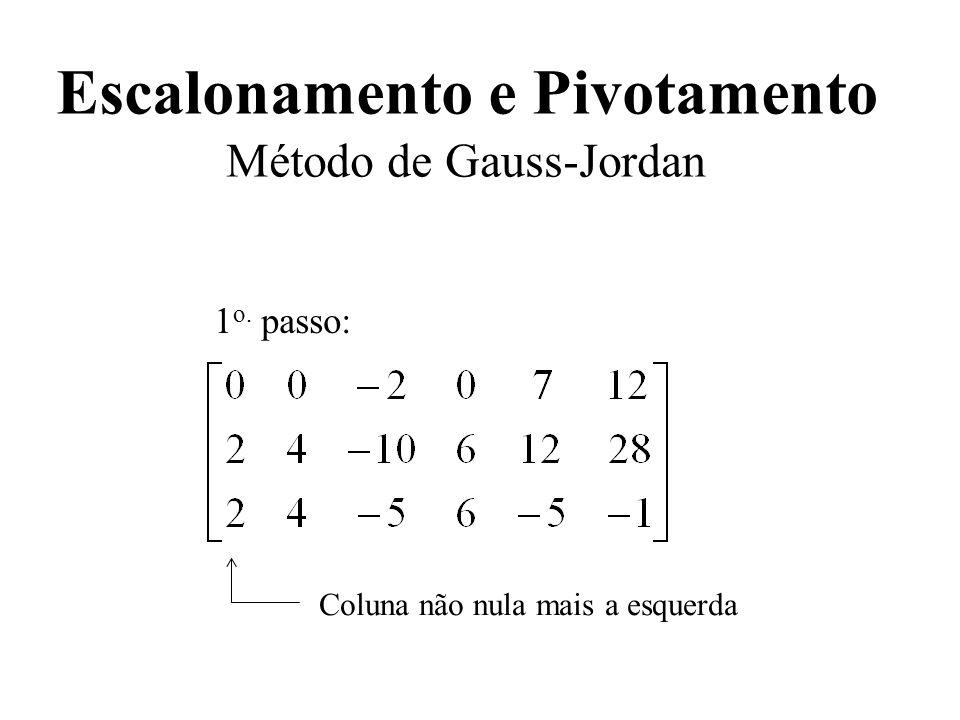 Escalonamento e Pivotamento Método de Gauss-Jordan 1 o. passo: Coluna não nula mais a esquerda