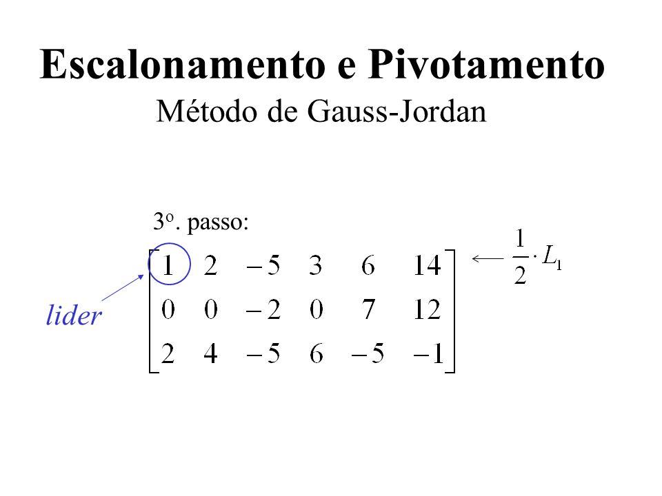 Escalonamento e Pivotamento Método de Gauss-Jordan 3 o. passo: lider