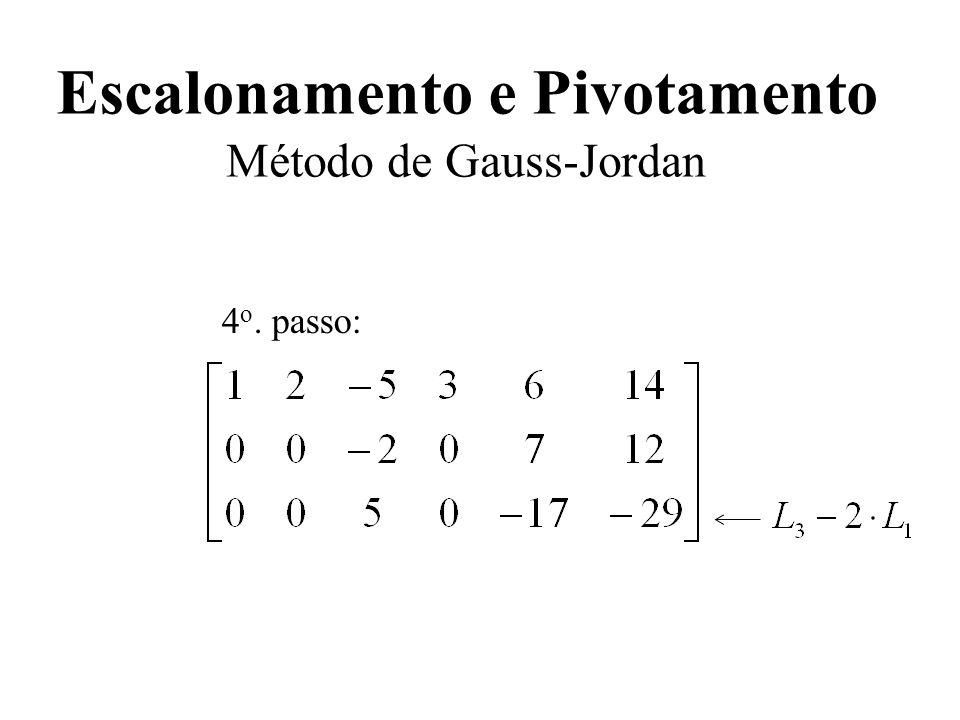Escalonamento e Pivotamento Método de Gauss-Jordan 4 o. passo: