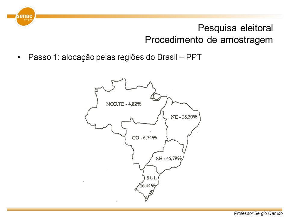 Professor Sergio Garrido Pesquisa eleitoral Procedimento de amostragem Passo 1: alocação pelas regiões do Brasil – PPT