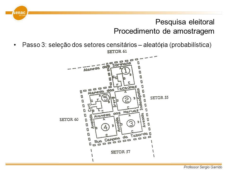 Professor Sergio Garrido Pesquisa eleitoral Procedimento de amostragem Passo 3: seleção dos setores censitários – aleatória (probabilística)