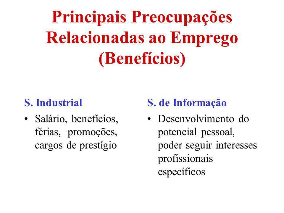 Principais Preocupações Relacionadas ao Emprego (Benefícios) S. Industrial Salário, benefícios, férias, promoções, cargos de prestígio S. de Informaçã