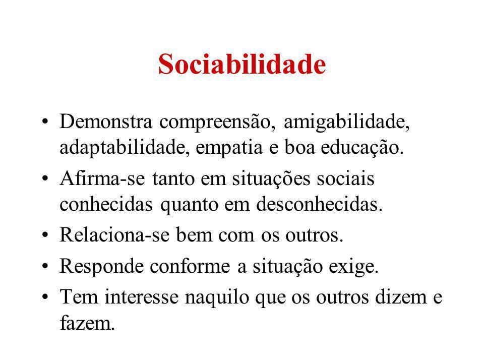 Sociabilidade Demonstra compreensão, amigabilidade, adaptabilidade, empatia e boa educação. Afirma-se tanto em situações sociais conhecidas quanto em