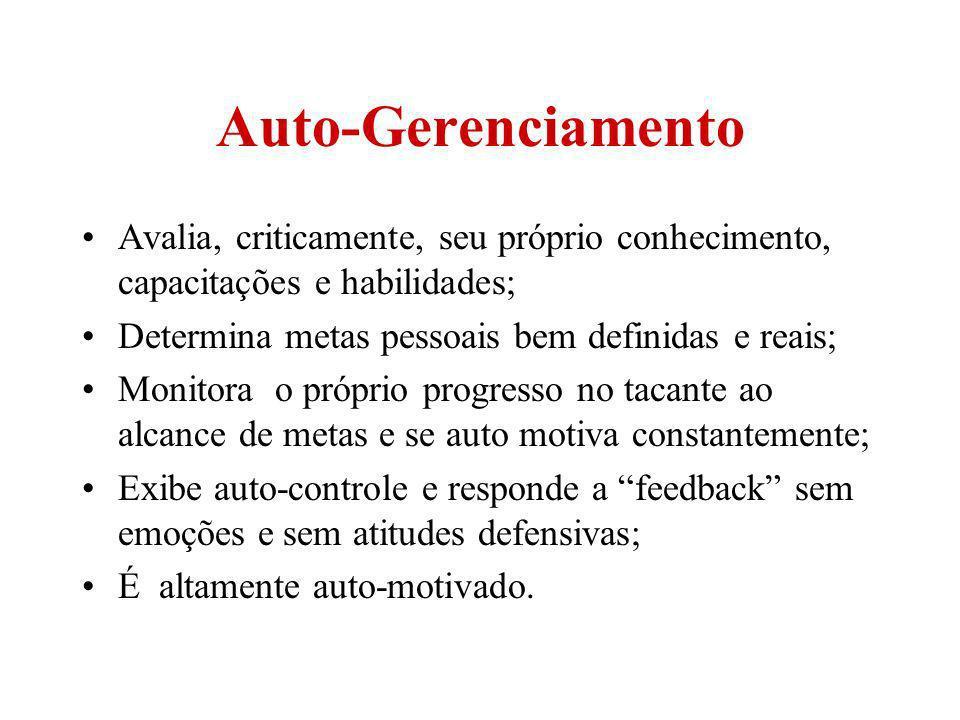 Auto-Gerenciamento Avalia, criticamente, seu próprio conhecimento, capacitações e habilidades; Determina metas pessoais bem definidas e reais; Monitor