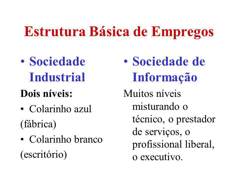 Estrutura Básica de Empregos Sociedade Industrial Dois níveis: Colarinho azul (fábrica) Colarinho branco (escritório) Sociedade de Informação Muitos n