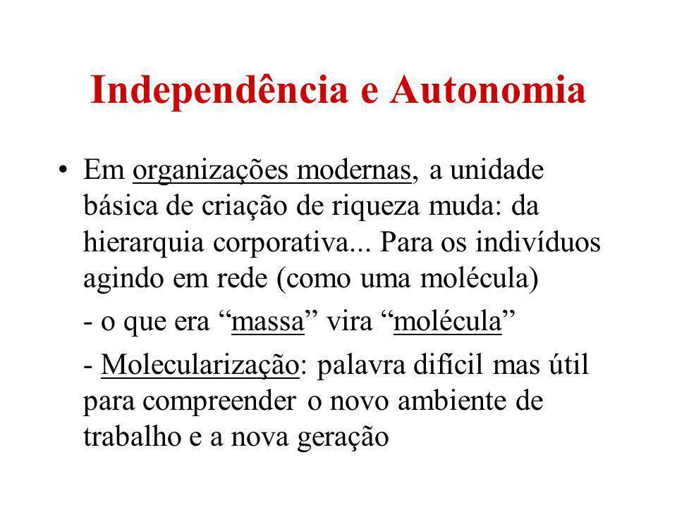 Independência e Autonomia Em organizações modernas, a unidade básica de criação de riqueza muda: da hierarquia corporativa... Para os indivíduos agind