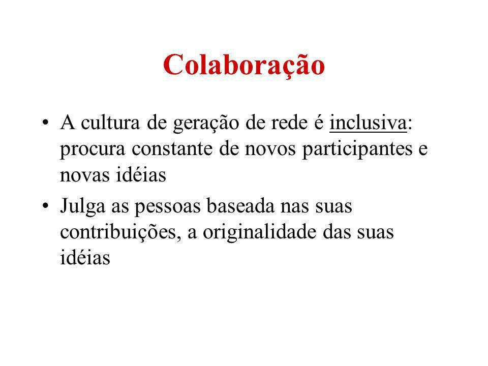 Colaboração A cultura de geração de rede é inclusiva: procura constante de novos participantes e novas idéias Julga as pessoas baseada nas suas contri