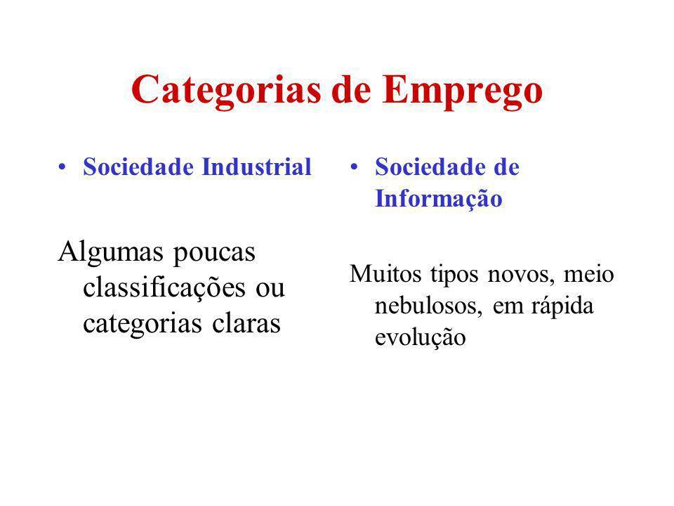 Categorias de Emprego Sociedade Industrial Algumas poucas classificações ou categorias claras Sociedade de Informação Muitos tipos novos, meio nebulos