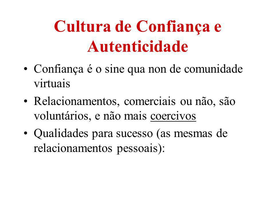Cultura de Confiança e Autenticidade Confiança é o sine qua non de comunidade virtuais Relacionamentos, comerciais ou não, são voluntários, e não mais