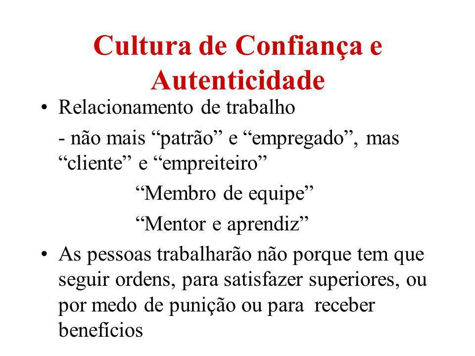 Cultura de Confiança e Autenticidade Relacionamento de trabalho - não mais patrão e empregado, mas cliente e empreiteiro Membro de equipe Mentor e apr