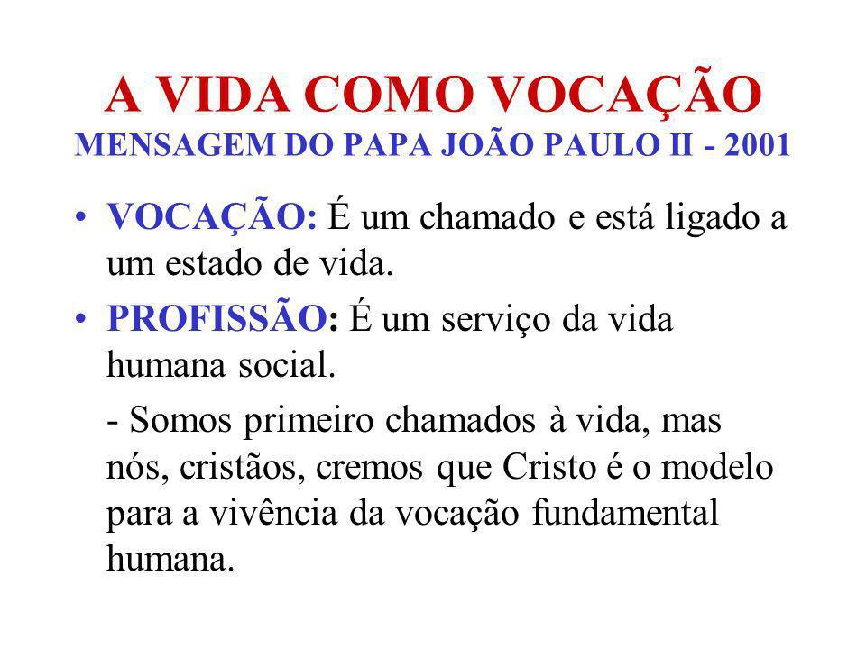 A VIDA COMO VOCAÇÃO MENSAGEM DO PAPA JOÃO PAULO II - 2001 VOCAÇÃO: É um chamado e está ligado a um estado de vida. PROFISSÃO: É um serviço da vida hum
