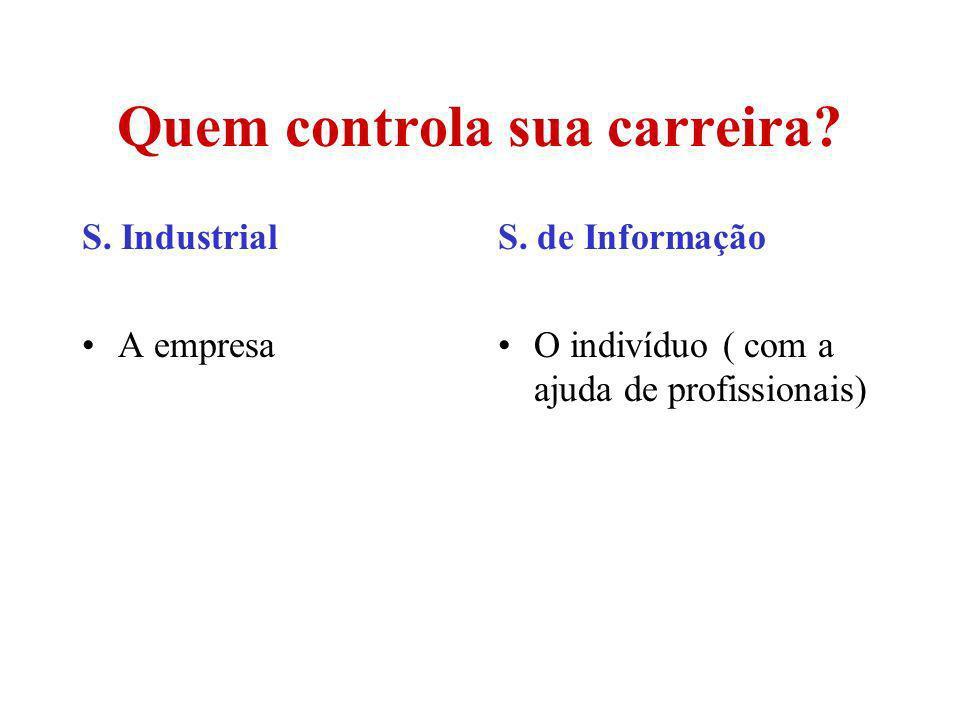 Quem controla sua carreira? S. Industrial A empresa S. de Informação O indivíduo ( com a ajuda de profissionais)