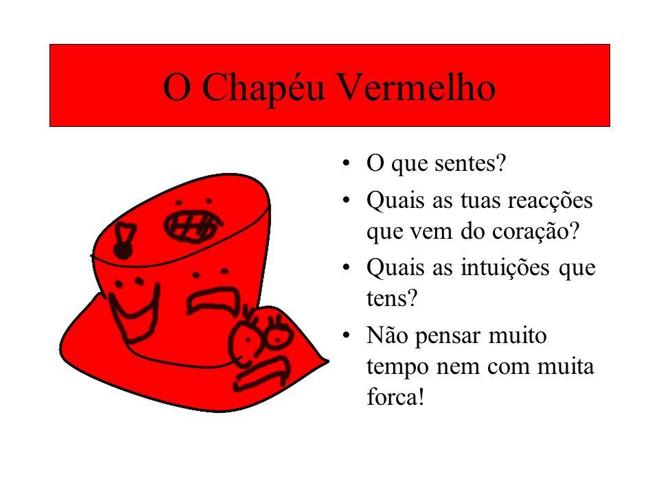 O Chapéu Vermelho O que sentes? Quais as tuas reacções que vem do coração? Quais as intuições que tens? Não pensar muito tempo nem com muita forca!