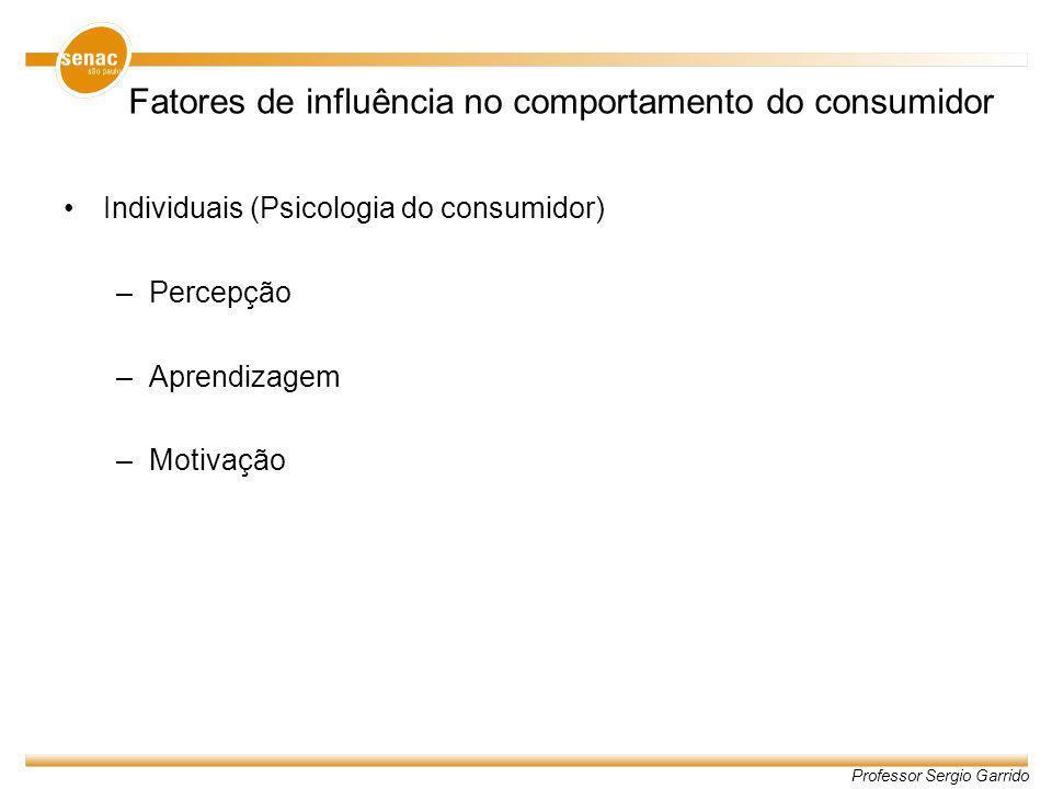Professor Sergio Garrido Fatores de influência no comportamento do consumidor Individuais (Psicologia do consumidor) –Percepção –Aprendizagem –Motivaç