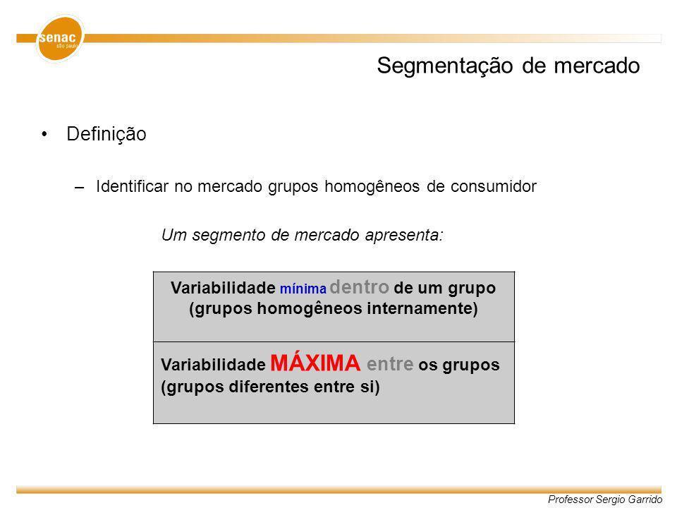 Professor Sergio Garrido Segmentação de mercado Definição –Identificar no mercado grupos homogêneos de consumidor Um segmento de mercado apresenta: Va