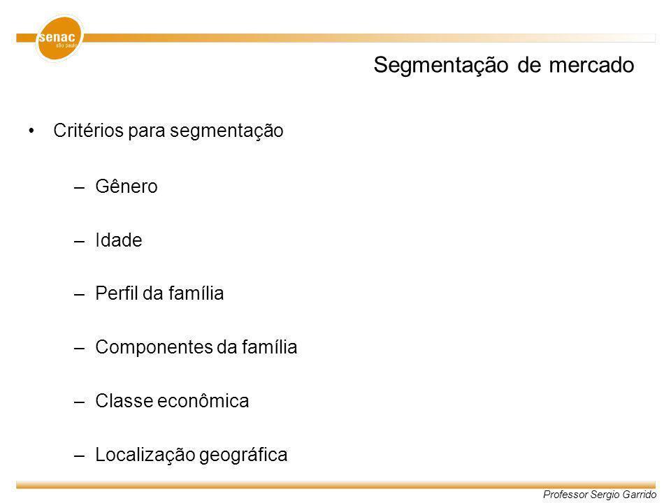 Professor Sergio Garrido Segmentação de mercado Critérios para segmentação –Gênero –Idade –Perfil da família –Componentes da família –Classe econômica