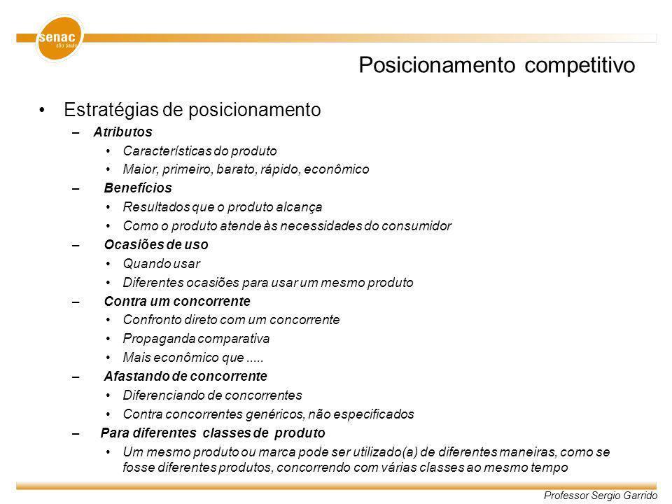 Professor Sergio Garrido Posicionamento competitivo Estratégias de posicionamento –Atributos Características do produto Maior, primeiro, barato, rápid