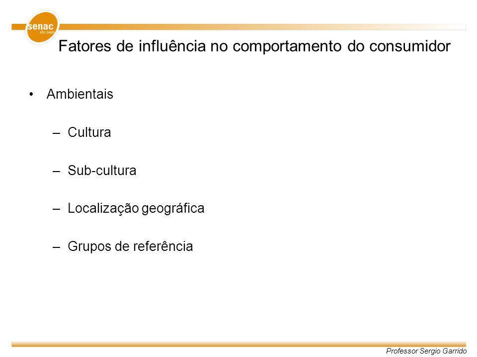 Professor Sergio Garrido Fatores de influência no comportamento do consumidor Ambientais –Cultura –Sub-cultura –Localização geográfica –Grupos de refe
