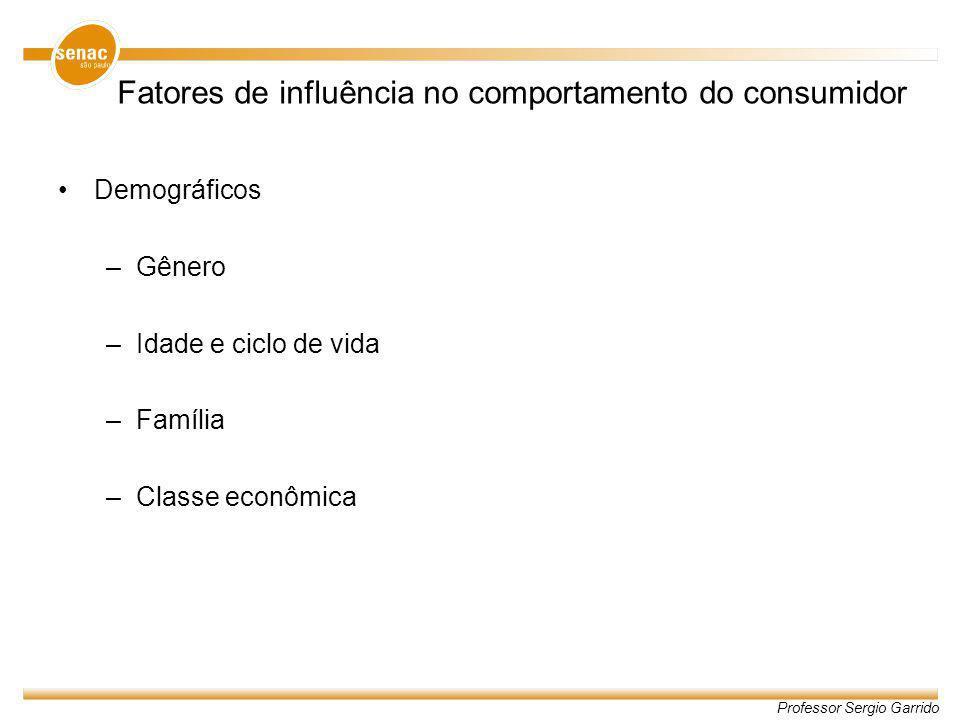 Professor Sergio Garrido Fatores de influência no comportamento do consumidor Demográficos –Gênero –Idade e ciclo de vida –Família –Classe econômica