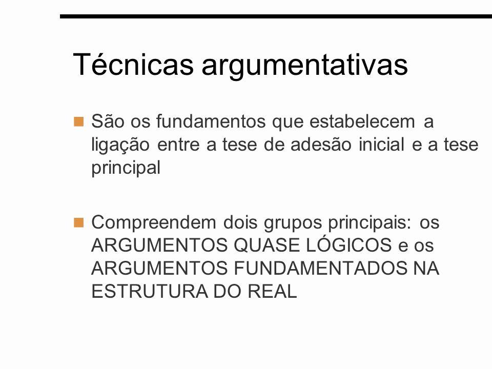 Técnicas argumentativas São os fundamentos que estabelecem a ligação entre a tese de adesão inicial e a tese principal Compreendem dois grupos princip