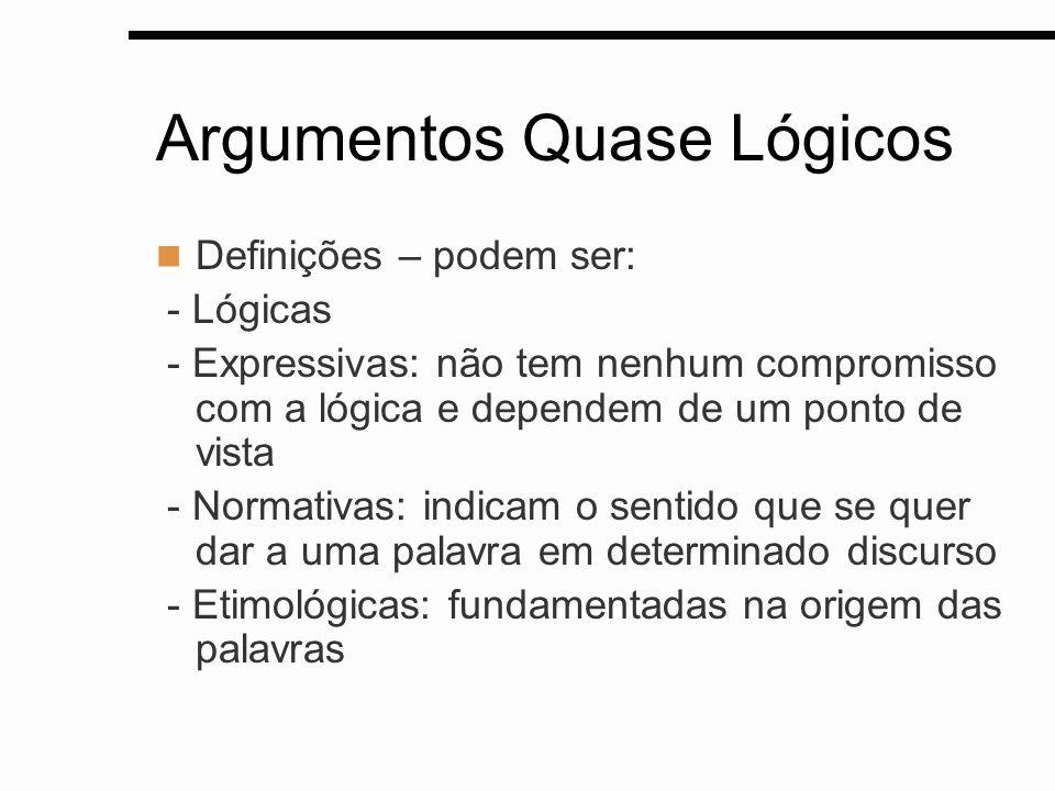 Argumentos Quase Lógicos Definições – podem ser: - Lógicas - Expressivas: não tem nenhum compromisso com a lógica e dependem de um ponto de vista - No