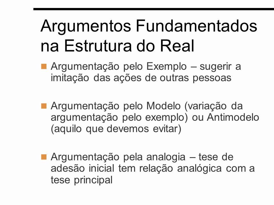 Argumentos Fundamentados na Estrutura do Real Argumentação pelo Exemplo – sugerir a imitação das ações de outras pessoas Argumentação pelo Modelo (var