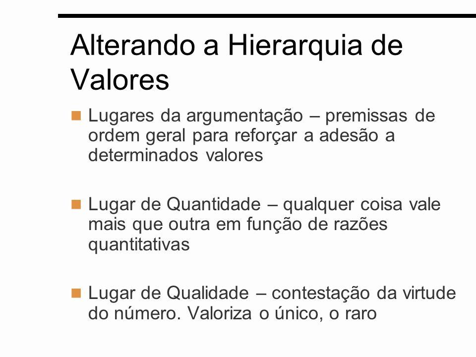 Alterando a Hierarquia de Valores Lugares da argumentação – premissas de ordem geral para reforçar a adesão a determinados valores Lugar de Quantidade
