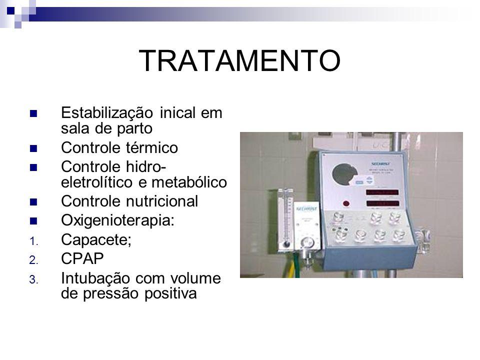 TRATAMENTO Estabilização inical em sala de parto Controle térmico Controle hidro- eletrolítico e metabólico Controle nutricional Oxigenioterapia: 1. C