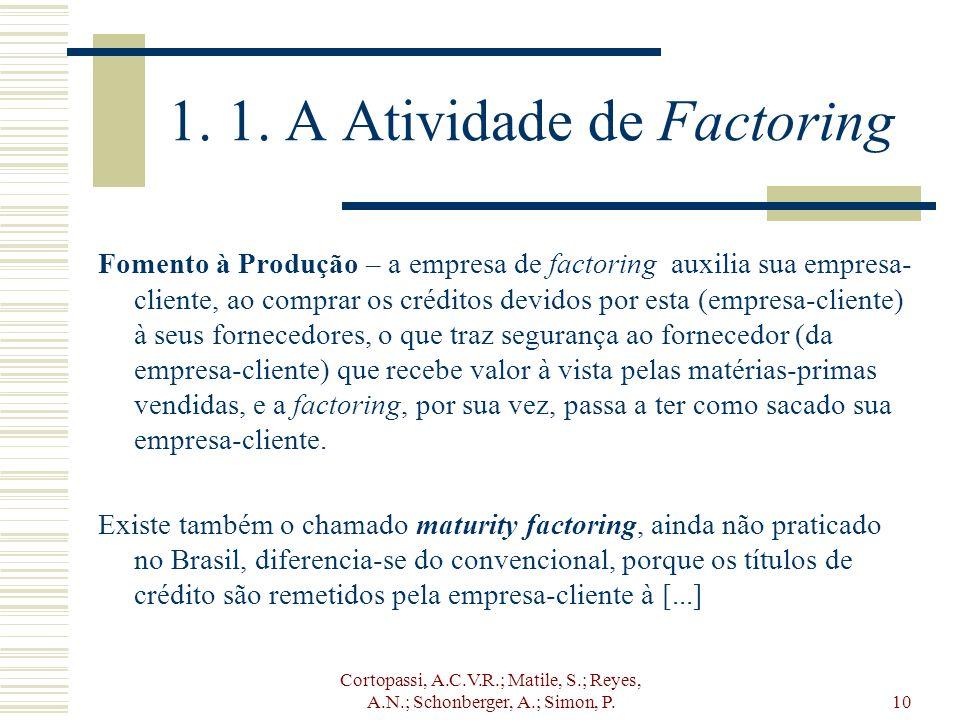 Cortopassi, A.C.V.R.; Matile, S.; Reyes, A.N.; Schonberger, A.; Simon, P.10 1. 1. A Atividade de Factoring Fomento à Produção – a empresa de factoring