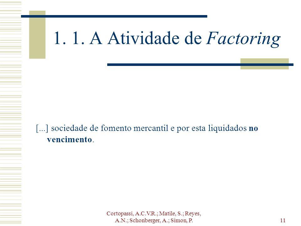 Cortopassi, A.C.V.R.; Matile, S.; Reyes, A.N.; Schonberger, A.; Simon, P.11 1. 1. A Atividade de Factoring [...] sociedade de fomento mercantil e por