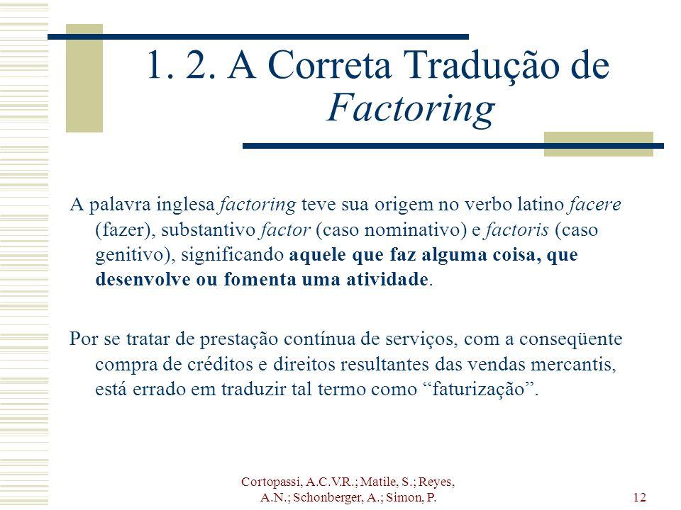 Cortopassi, A.C.V.R.; Matile, S.; Reyes, A.N.; Schonberger, A.; Simon, P.12 1. 2. A Correta Tradução de Factoring A palavra inglesa factoring teve sua