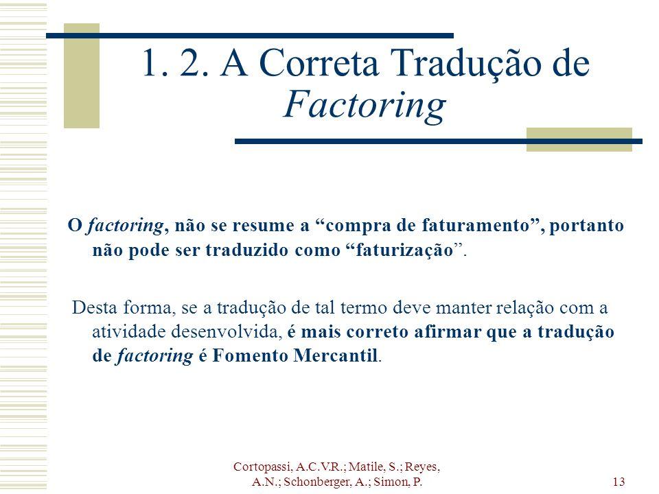 Cortopassi, A.C.V.R.; Matile, S.; Reyes, A.N.; Schonberger, A.; Simon, P.13 1. 2. A Correta Tradução de Factoring O factoring, não se resume a compra