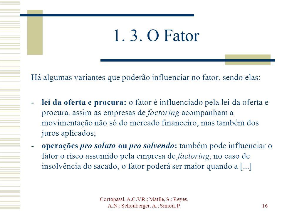 Cortopassi, A.C.V.R.; Matile, S.; Reyes, A.N.; Schonberger, A.; Simon, P.16 1. 3. O Fator Há algumas variantes que poderão influenciar no fator, sendo