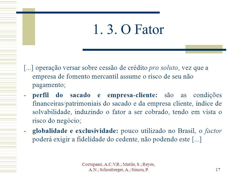 Cortopassi, A.C.V.R.; Matile, S.; Reyes, A.N.; Schonberger, A.; Simon, P.17 1. 3. O Fator [...] operação versar sobre cessão de crédito pro soluto, ve